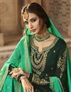 photo of Occasion Wear Georgette Satin Embroidered Sharara Palazzo Salwar Kameez In Dark Green Color