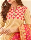 photo of Cotton Fabric Embroidery Work On Cream Color Desginer Straight Cut Salwar Kameez With Banarasi Dupatta