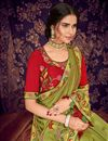 photo of Green Art Silk Fabric Festive Wear Saree With Embroidery Work