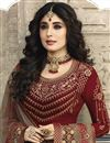 photo of Kritika Kamra Maroon Satin Georgette Embroidered Function Wear Designer Straight Cut Salwar Suit