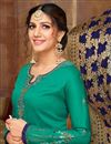 photo of Art Silk Cyan Embroidered Function Wear Designer Straight Cut Salwar Suit