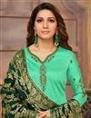 photo of Cyan Art Silk Embroidered Function Wear Designer Straight Cut Salwar Suit