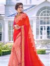 image of Orange Color Georgette Fabric Party Wear Saree With Embroidery Work And Enigmatic Blouse