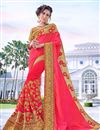 image of Embroidery Work On Designer Saree In Georgette Fabric Pink Color With Likable Blouse