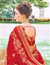 photo of Embroidery Work On Georgette Fabric Party Wear Saree In Red Color With Beautiful Blouse