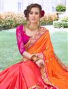 photo of Georgette Fabric Orange Color Occasion Wear Saree With Embroidery Work And Designer Blouse