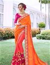 image of Georgette Fabric Orange Color Occasion Wear Saree With Embroidery Work And Designer Blouse