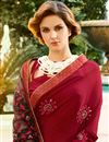 photo of Art Silk Fabric Designer Embroidered Saree In Maroon Color With Attractive Blouse