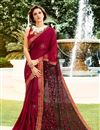 image of Art Silk Fabric Designer Embroidered Saree In Maroon Color With Attractive Blouse