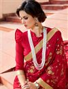 photo of Red Color Party Wear Saree In Art Silk Fabric With Embroidery Work And Beautiful Blouse