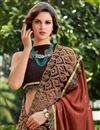 photo of Art Silk Fabric Brown Color Festive Wear Saree With Embroidery Work And Attractive Blouse