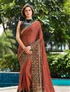 image of Art Silk Fabric Brown Color Festive Wear Saree With Embroidery Work And Attractive Blouse