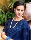 photo of Georgette Fabric Blue Color Festive Saree With Embroidery Work And Gorgeous Blouse