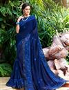 image of Georgette Fabric Blue Color Festive Saree With Embroidery Work And Gorgeous Blouse