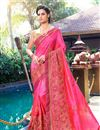 image of Embroidery Work On Occasion Wear Saree In Pink Color With Designer Blouse