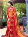 image of Red Color Georgette Fabric Wedding Wear Saree With Embroidery Work And Gorgeous Blouse