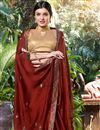 photo of Embroidery Work On Reception Wear Saree In Georgette Fabric Maroon Color With Charming Blouse