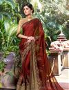 image of Embroidery Work On Reception Wear Saree In Georgette Fabric Maroon Color With Charming Blouse