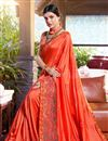 photo of Embroidery Work On Orange Color Designer Saree In Georgette Fabric With Admirable Blouse