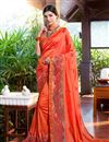 image of Embroidery Work On Orange Color Designer Saree In Georgette Fabric With Admirable Blouse