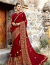 image of Sangeet Wear Art Silk Fabric Saree In Maroon Color With Embroidery Work And Alluring Blouse
