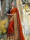 image of Maroon Color Art Silk Fabric Party Wear Saree With Embroidery Work And Designer Blouse