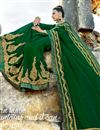 photo of Art Silk Fabric Embroidery Work On Dark Green Color Reception Wear Saree With Charming Blouse