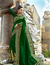 image of Art Silk Fabric Embroidery Work On Dark Green Color Reception Wear Saree With Charming Blouse