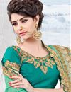 photo of Embroidery Work On Light Teal Color Georgette Fabric Designer Saree With Party Wear Blouse