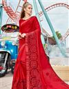image of Red Color Georgette Fabric Designer Saree With Embroidered Border And Blouse
