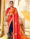image of Orange Color Sangeet Wear Saree With Embroidery Work In Fancy Fabric