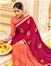 photo of Embroidery Work On Fancy Fabric Designer Saree In Dark Pink Color