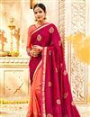 image of Embroidery Work On Fancy Fabric Designer Saree In Dark Pink Color