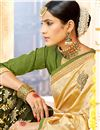 photo of Fancy Fabric Beige Color Festive Wear Saree With Embroidery Work