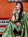 photo of Fancy Green Designer Party Style Art Silk Saree With Weaving Work