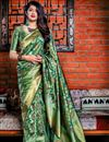 image of Designer Party Wear Green Fancy Saree In Art Silk With Weaving Work