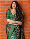 photo of Art Silk Dark Green Designer Party Wear Fancy Saree With Weaving Work