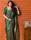 image of Art Silk Dark Green Designer Party Wear Fancy Saree With Weaving Work