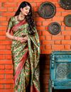 image of Eid Special Designer Party Wear Beige Fancy Saree In Art Silk With Weaving Work