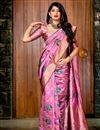 image of Fancy Art Silk Designer Party Style Pink Saree With Weaving Work