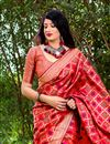 photo of Party Wear Art Silk Designer Weaving Work Red Color Fancy Saree