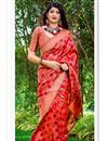 image of Eid Special Party Wear Fancy Red Color Designer Weaving Work Saree In Art Silk