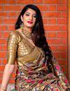 photo of Designer Party Wear Art Silk Fancy Saree In Dark Beige With Weaving Work