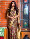 image of Designer Party Wear Art Silk Fancy Saree In Dark Beige With Weaving Work