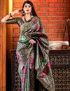 image of Black Art Silk Designer Party Wear Fancy Saree With Weaving Work