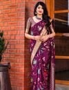image of Designer Party Wear Art Silk Fancy Saree In Purple With Weaving Work