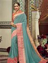 image of Jacquard Work Art Silk Fabric Fancy Wedding Wear Saree In Grey Color