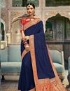 image of Navy Blue Color Jacquard Work Wedding Wear Art Silk Fabric Traditional Saree