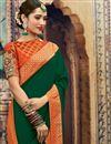 photo of Art Silk Fabric Jacquard Work Designer Wedding Wear Saree In Dark Green Color