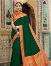 image of Art Silk Fabric Jacquard Work Designer Wedding Wear Saree In Dark Green Color